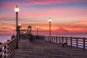 California Oceanside pier at sunset